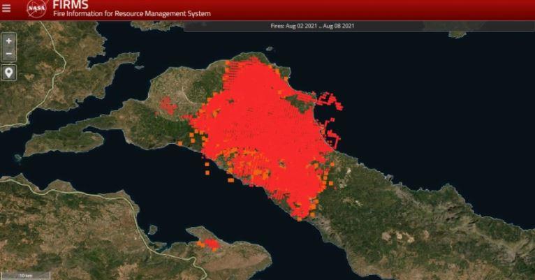 Εύβοια: Καρέ-καρέ η εξάπλωση της μεγάλης πυρκαγιάς μέσα από τους χάρτες της NASA